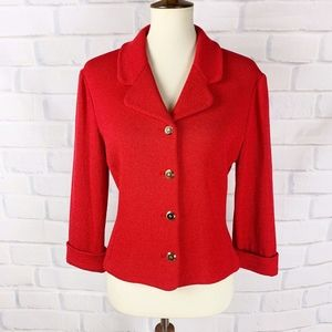 St. John Collection Red Button Cardigan